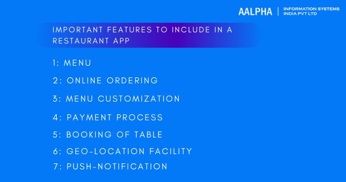 restaurant app features