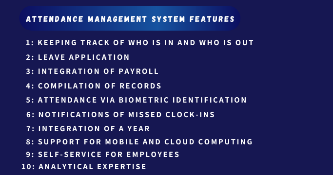 Attendance Management System Features