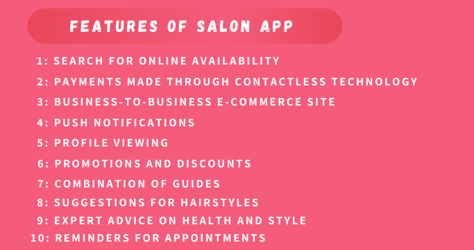 Features of Salon App